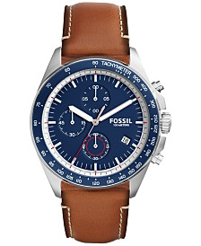 fossil watches macy s fossil men s chronograph sport 54 light brown leather strap watch 44mm ch3039