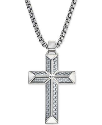 Esquire Mens Jewelry Cross Pendant Necklace in Gray Carbon Fiber