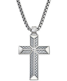 Esquire Men's Jewelry Cross Pendant Necklace in Gray Carbon Fiber and Stainless Steel, Created for Macy's
