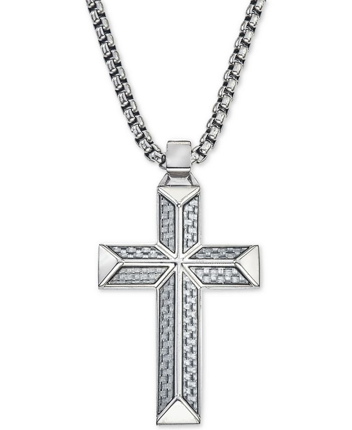 Esquire Men's Jewelry - Cross Pendant Necklace in Gray Carbon Fiber and Stainless Steel