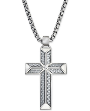 Cross Pendant Necklace in Gray Carbon Fiber and Stainless Steel