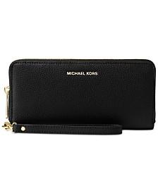MICHAEL Michael Kors Mercer Travel Continental Pebble Leather Wristlet