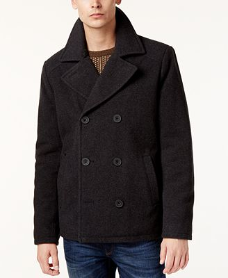 Kenneth Cole Men's Kurt Notch-Collar Pea Coat - Coats & Jackets ...