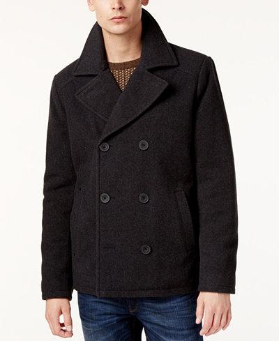 Kenneth Cole Men's Kurt Notch-Collar Pea Coat - Coats & Jackets ...