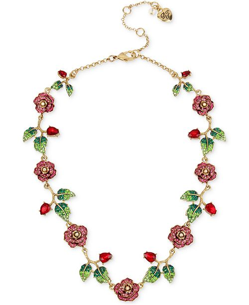 "Betsey Johnson 16"" Gold-Tone Multi-Crystal Floral Collar Necklace"