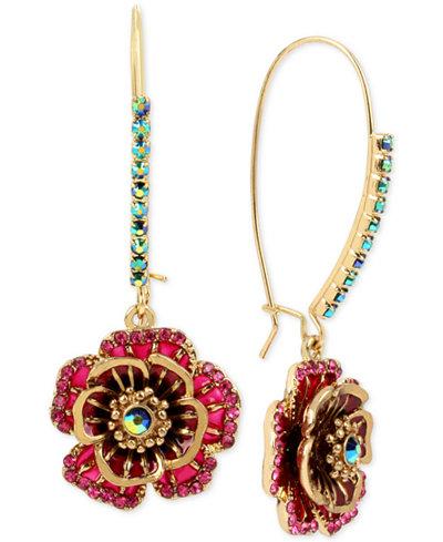 Betsey Johnson Gold-Tone Multi-Crystal Flower Drop Earrings
