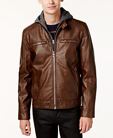 Men's Faux-Leather Detachable-Hood Motorcycle Jacket