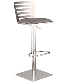 Delmar Adjustable Brushed Stainless Steel Barstool in White Faux Leather