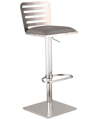 Delmar Adjustable Brushed Stainless Steel Bar Stool, Quick Ship