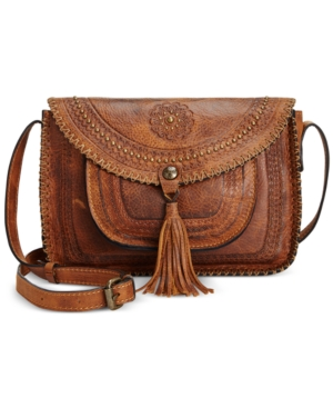 Image of Patricia Nash Beaumont Vintage Distressed Leather Flap Crossbody