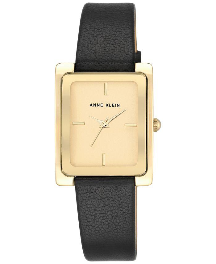 Anne Klein - Women's Black Leather Strap Watch 28x35mm AK-2706CHBK