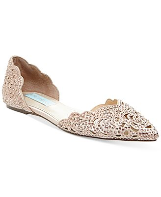 blue by betsey johnson lucy embellished flats pumps