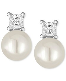 Silver-Tone Imitation Pearl and Crystal Stud Earrings