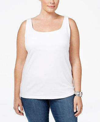 Style & Co Plus Size Shelf-Bra Tank Top, Only at Macy's - Tops ...