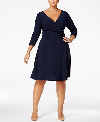 ny collection plus size ruched a-line dress - dresses - plus sizes