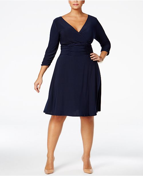 NY Collection Plus & Petite Plus Size Ruched A-Line Dress & Reviews ...