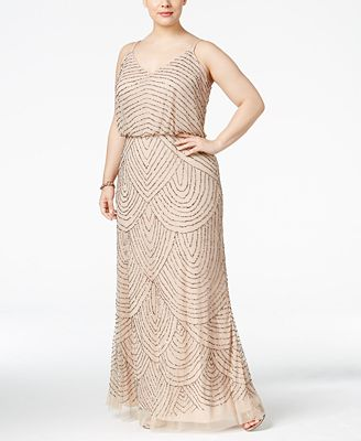 Adrianna Papell Plus Size Beaded Blouson Gown Dresses Women Macys