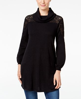 Style & Co. Petite Cowl-Neck Lace Sweater, Created for Macy's ...