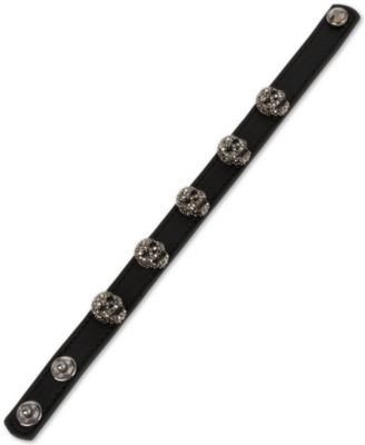 Leather Skull Snap Bracelet