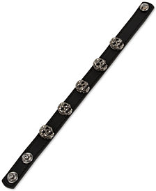 Betsey Johnson Leather Skull Snap Bracelet