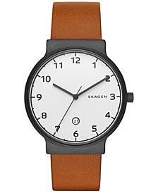 Skagen Men's Ancher Light Brown Leather Strap Watch 40mm SKW6297