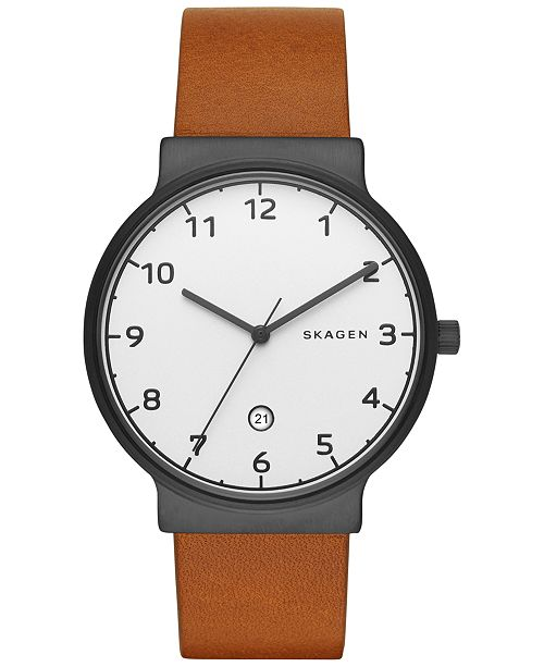 7aa3bfef2e6 Skagen Men s Ancher Light Brown Leather Strap Watch 40mm SKW6297 ...
