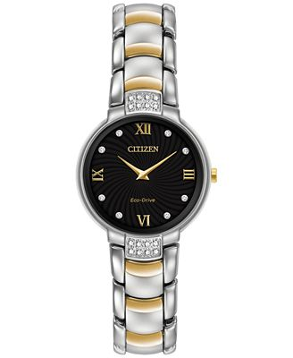 Citizen Women's Eco-Drive Diamond Accent Two-Tone Stainless Steel Bracelet Watch 29mm EX1464-54E