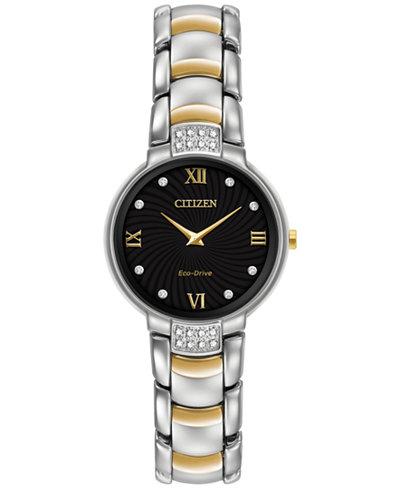 Citizen Women's Eco-Drive Diamond Accent Two-Tone Stainless Steel Bracelet Watch 29mm EX1464-54E