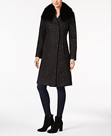 Elie Tahari Raccoon-Fur-Trim Bouclé Walker Coat
