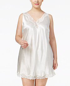 Thalia Sodi Plus Size Lace-Trimmed V-Back Chemise, Created for Macy's