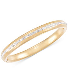 Signature Gold™ Swarovski Zirconia Bangle Bracelet in 14k Gold over Resin