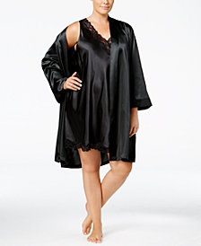 Thalia Sodi Plus Size Satin Wrap Robe, Created for Macy's
