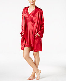 Thalia Sodi Satin Short Wrap Robe, Created for Macy's