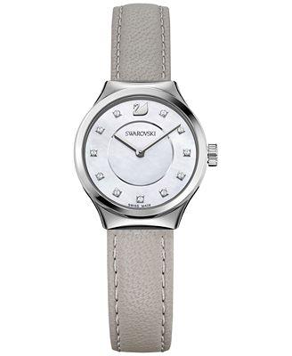 Swarovski Women's Swiss Dreamy Gray Leather Strap Watch 28mm 5219457