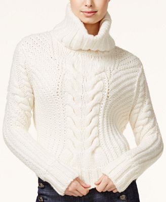 TOMMYXGIGI Cable-Knit Turtleneck Sweater - Sweaters - Women - Macy's