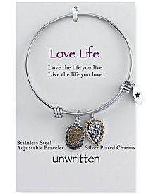 Unwritten Two-Tone Crystal Accented Love Life Charm Adjustable Bangle Bracelet in Stainless Steel with 14k Gold-Plating