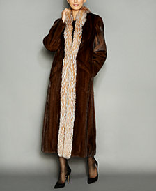 The Fur Vault Fox-Fur-Trim Mink Fur Maxi Coat