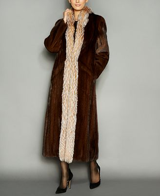 The Fur Vault Fox-Fur-Trim Mink Fur Maxi Coat