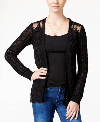 American Rag Pointelle-Knit Lace-Panel Cardigan - Juniors Sweaters ...