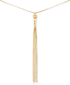 Italian Gold Tassel Pendant Necklace in 14k Gold