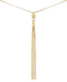 Italian Gold Tassel Pendant Necklace in 14k Gold