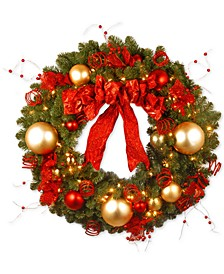 "36"" Decorative Collection Cozy Christmas Wreath with 100 Red and Clear Lights"
