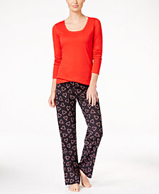 Jenni by Jennifer Moore Knit Top and Printed Pants Pajama Set, Created for Macy's