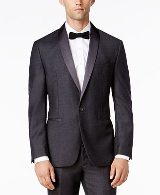 Ryan Seacrest Distinction Men's Modern Fit Gray Flannel Tuxedo Jacket, Only at Macy's
