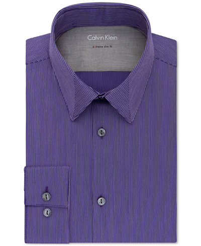 Calvin klein x men 39 s extra slim fit stretch purple stripe for Calvin klein slim fit stretch shirt