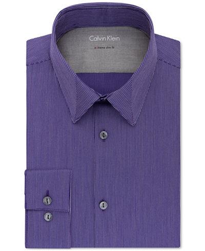 Calvin klein x men 39 s extra slim fit stretch purple stripe for Calvin klein x fit dress shirt