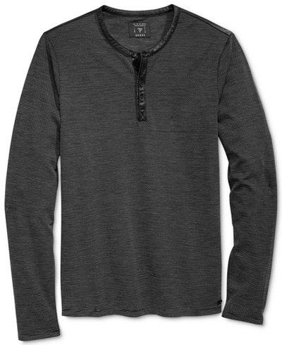 Guess Men 39 S Mason Jacquard Henley Shirt T Shirts Men