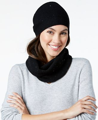 charter club sequined hat infinity scarf set