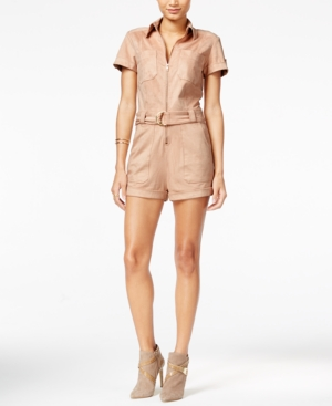 Vintage Rompers and Retro Playsuits Guess Anja Faux-Suede Military Romper $51.99 AT vintagedancer.com