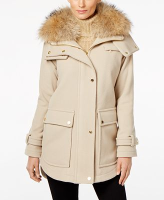 Trina Turk Asiatic Raccoon-Fur-Trim Asymmetrical Coat